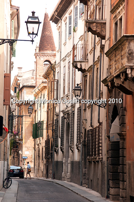 A narrow street in Verona, Italy.