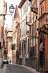 A narrow street in Verona, Italy.