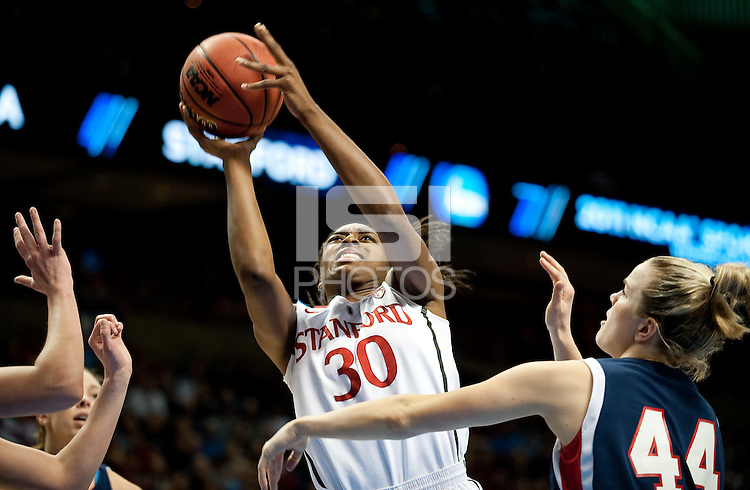 SPOKANE, WA - MARCH 28, 2011: Nnemkadi Ogwumike at the Stanford Women's Basketball vs Gonzaga, NCAA West Regional Finals at the Spokane Arena on March 28, 2011.