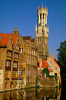 Rozenhoedkaai (on the canals), Belfort (Belfry) in background, Brugge, Belgium