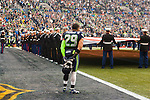 Seattle Seahawks free safety Earl Thomas <br /> listens to the National Anthem before their game against the Cleveland Browns at CenturyLink Field in Seattle, Washington on December 20, 2015. The Seahawks clinched their fourth straight playoff berth in four seasons by beating the Browns 30-13.  &copy;2015. Jim Bryant Photo. All Rights Reserved.