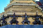 Yaksha Guardians support a chedi within the Grand Palace and Wat Phra Kaeo Bangkok, Thailand