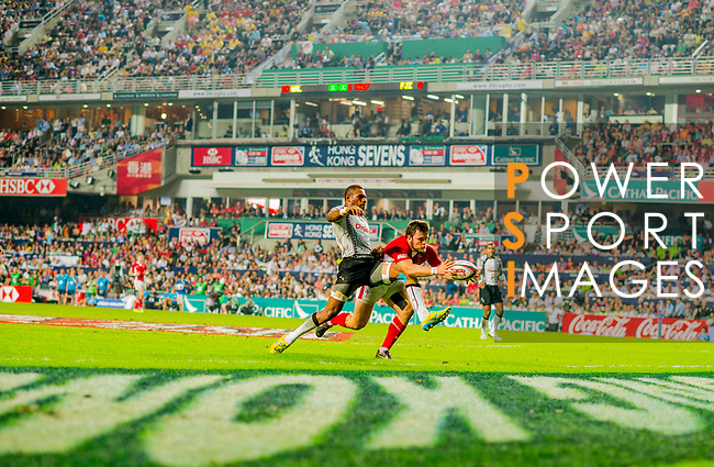 Wales play Fiji in the Cup Final on Day 3 of the Cathay Pacific / HSBC Hong Kong Sevens 2013 on 24 March 2013 at Hong Kong Stadium, Hong Kong. Photo by Victor Fraile / The Power of Sport Images