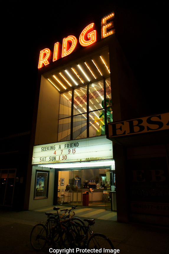 The Ridge movie theatre marquee at night,  Kitsilano, Vancouver, British Columbia, Canada. This vintage movie theatre opened in 1950. It was sold in 2011 and is now slated for demolition in 2013.