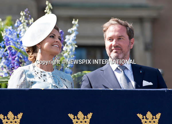 14.07.2017; Stockholm Sweden: PRINCESS MADELEINE AND CHRISTOPHER O'NEILL<br /> observe the carriage procession around the city of Stockholm on the occasion of Crown Princess Victoria&rsquo;s 40th Birthday, from the balocny of the royl Palace.<br /> King Carl Gustaf, Queen Silvia, Princess Madeleine, Christopher, Prince Carl Philip and Princess Sofia cheered the Crown Princess as the carriage passed the Royal Palace balcony.<br /> Mandatory Photo Credit: &copy;Francis Dias/NEWSPIX INTERNATIONAL<br /> <br /> IMMEDIATE CONFIRMATION OF USAGE REQUIRED:<br /> Newspix International, 31 Chinnery Hill, Bishop's Stortford, ENGLAND CM23 3PS<br /> Tel:+441279 324672  ; Fax: +441279656877<br /> Mobile:  07775681153<br /> e-mail: info@newspixinternational.co.uk<br /> Usage Implies Acceptance of Our Terms &amp; Conditions<br /> Please refer to usage terms. All Fees Payable To Newspix International