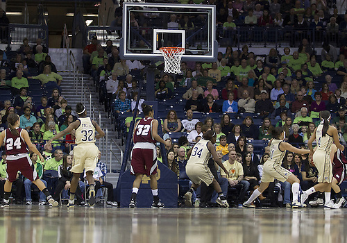 November 18, 2012:  A general view of the action during NCAA Women's Basketball game action between the Notre Dame Fighting Irish and the Massachusetts Minutewomen at Purcell Pavilion at the Joyce Center in South Bend, Indiana.  Notre Dame defeated Massachusetts 94-50.