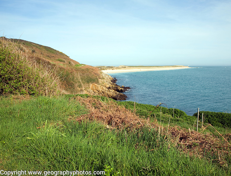 View north to Shell beach, Island of Herm, Channel Islands, Great Britain