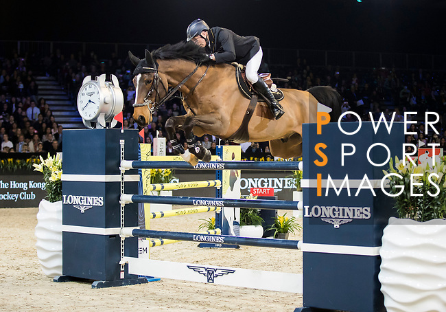 John Whitaker of Great Britain riding Crumley competes in the Longines Grand Prix during the Longines Masters of Hong Kong at AsiaWorld-Expo on 11 February 2018, in Hong Kong, Hong Kong. Photo by Ian Walton / Power Sport Images