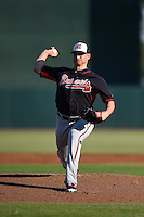 Atlanta Braves pitcher Shelby Miller (17) during a Spring Training game against the Baltimore Orioles on April 3, 2015 at Ed Smith Stadium in Sarasota, Florida.  Baltimore defeated Atlanta 3-2.  (Mike Janes/Four Seam Images)