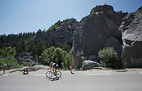 Laurent Didier (LUX/Trek Factory Racing) having between the breakaway group and the peloton whilst riding through the Claps (rock formations) de Luc en Diois<br /> <br /> stage 16: Bourg de Péage - Gap (201km)<br /> 2015 Tour de France
