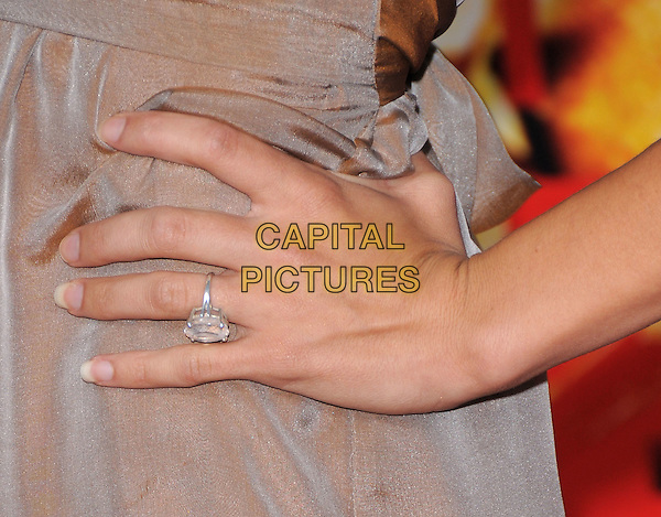 "JENNA DEWAN'S RING.The Columbia Pictures' World Premiere of ""Pineapple Express"" held at The Mann's Village Theatre in Westwood, California on .July 31st, 2008 .diamond engagement finger hand on hip .CAP/DVS.©Debbie VanStory/Capital Pictures."