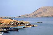 Kigoma, Tanzania. Boats moored beside Lake Tanganyika.