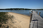 View of the sandy beach and boat dock at the home of Pete and Judi Dawkins in Rumson, New Jersey. CREDIT: Bill Denver for the Wall Street Journal..NYHODRUMSON
