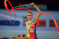 Daria Topic of Hungary performs with ribbon during junior event final at 2008 European Championships at Torino, Italy on June 7, 2008.  Photo by Tom Theobald.