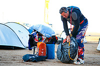 12th January 2020, Riyadh, Saudi Arabia;  Zacchetti Cesare (ita), KTM, Cesare Zacchetti, Original by Motul, Moto, Bike, puts away his Camping gear before Stage 7 of the Dakar 2020 between Riyadh and Wadi Al-Dawasir, 741 km - SS 546 km - Editorial Use
