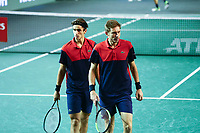 1st November 2019, AccorHotels Arena, Bercy, Paris, France; Rolex Paris Masters tennis tournament;  Nicolas Mahut and Pierre Hugues Herbert (FRA) vs Jeremy Chardy and Fabrice Martin (FRA)