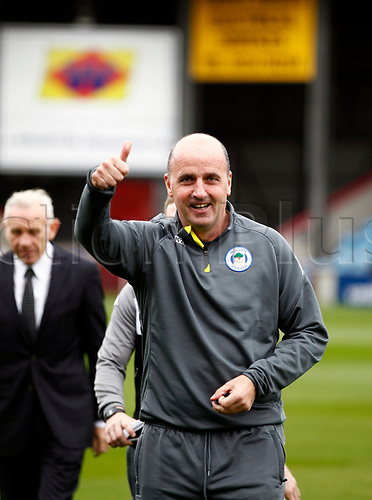 7th October 2017, Glanford Park, Scunthorpe, England; EFL League One football, Scunthorpe versus Wigan; Wigan Athletic Manager Paul Cook giving the the thumbs up before the match