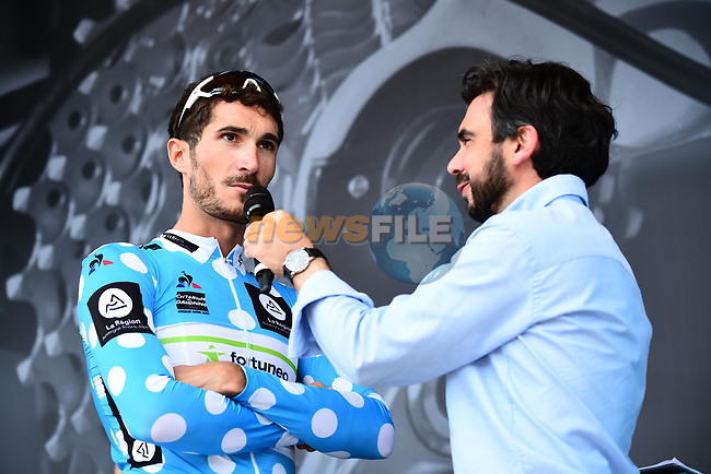 Polka Dot Jersey Brice Feillu (FRA) Fortuneo-Samsic interviewed on stage at sign on before the start of Stage 4 of the 2018 Criterium du Dauphine 2018 running 181km from Chazey sur Ain to Lans en Vercors, France. 7th June 2018.<br /> Picture: ASO/Alex Broadway | Cyclefile<br /> <br /> <br /> All photos usage must carry mandatory copyright credit (© Cyclefile | ASO/Alex Broadway)