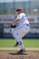 San Jose Giants relief pitcher DJ Myers (37) delivers a pitch to the plate during a California League game against the Lancaster JetHawks at San Jose Municipal Stadium on May 13, 2018 in San Jose, California. San Jose defeated Lancaster 3-0. (Zachary Lucy/Four Seam Images)