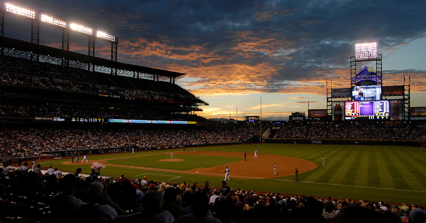 04 August 08: The sun sets over Coors Field in Denver, Colorado during a game between the Washington Nationals and the Colorado Rockies. The Nationals defeated the Rockies 9-4 at Coors Field in Denver, Colorado. FOR EDITORIAL USE ONLY. FOR EDITORIAL USE ONLY