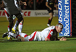 Ulster prop Tom Court dives over under the posts to score the first try of the match..Celtic Laegue.Newport Gwent Dragons v Ulster.Rodney Parade.26.10.12.©Steve Pope