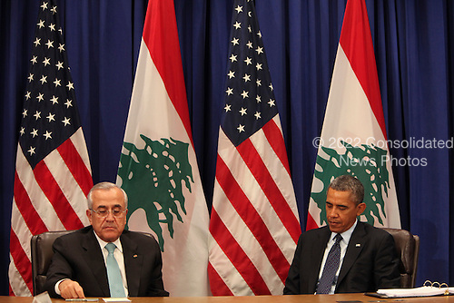 United States President Barack Obama, right, meets with President Michel Suleiman of Lebanon, left, after addressing the 68th United Nations General Assembly in New York, New York on Tuesday, September 24, 2013.<br /> Credit: Allan Tannenbaum / Pool via CNP