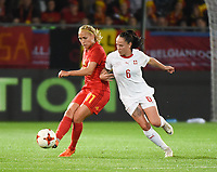 20181005 - LEUVEN , BELGIUM : Belgian Janice Cayman (L) and Switzerland's Geraldine Reuteler (R)  pictured during the female soccer game between the Belgian Red Flames and Switzerland , the first leg in the semi finals play offs for qualification for the World Championship in France 2019, Friday 5 th october 2018 at OHL Stadion Den Dreef in Leuven , Belgium. PHOTO SPORTPIX.BE | DIRK VUYLSTEKE