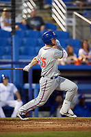 St. Lucie Mets right fielder Jeff Diehl (45) follows through on a swing during a game against the Dunedin Blue Jays on April 19, 2017 at Florida Auto Exchange Stadium in Dunedin, Florida.  Dunedin defeated St. Lucie 9-1.  (Mike Janes/Four Seam Images)