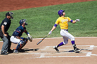 LSU Tigers outfielder Chris Sciambra (5) follows through on his swing during the NCAA College baseball World Series against the Cal State Fullerton on June 16, 2015 at TD Ameritrade Park in Omaha, Nebraska. LSU defeated Fullerton 5-3. (Andrew Woolley/Four Seam Images)