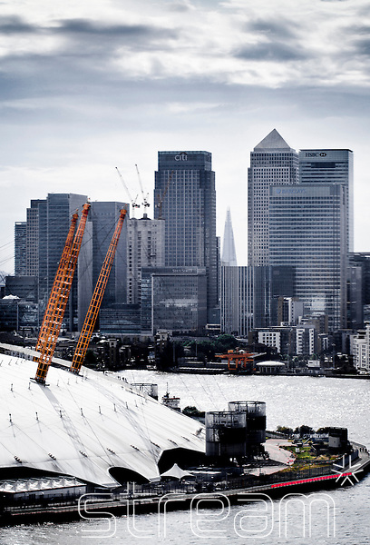 the O2 Arena, the Thames and Canary Wharf with the Shard in the background.