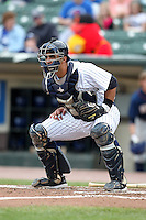 Empire State Yankees catcher Gustavo Molina #55 during a game against the Durham Bulls at Frontier Field on May 13, 2012 in Rochester, New York.  Durham defeated Empire State 3-1.  (Mike Janes/Four Seam Images)
