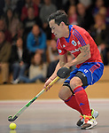 GER - Mannheim, Germany, November 28: During the 1. Bundesliga Sued Herren indoor hockey match between Mannheimer HC (red) and TG Frankenthal (white) on November 28, 2015 at Irma-Roechling-Halle in Mannheim, Germany. Final score 7-7 (HT 3-3). (Photo by Dirk Markgraf / www.265-images.com) *** Local caption *** Patrick Harris #17 of Mannheimer HC
