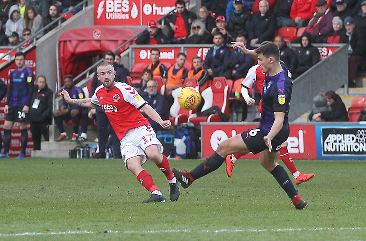 Fleetwood Town's Paddy Madden  gets a shot on goal<br /> <br /> Photographer Mick Walker/CameraSport<br /> <br /> The EFL Sky Bet League One - Fleetwood Town v Luton Town - Saturday 16th February 2019 - Highbury Stadium - Fleetwood<br /> <br /> World Copyright © 2019 CameraSport. All rights reserved. 43 Linden Ave. Countesthorpe. Leicester. England. LE8 5PG - Tel: +44 (0) 116 277 4147 - admin@camerasport.com - www.camerasport.com