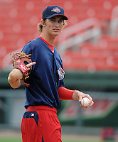 Pitcher Henry Owens (32) of the Greenville Drive in the team's first workout at home on April 3, 2012, at Fluor Field at the West End in Greenville, South Carolina. Owens was a supplemental round pick by the Boston Red Sox in the 2011 First-Year Player Draft. (Tom Priddy/Four Seam Images)