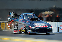 Apr. 13, 2012; Concord, NC, USA: NHRA funny car driver Blake Alexander during qualifying for the Four Wide Nationals at zMax Dragway. Mandatory Credit: Mark J. Rebilas-
