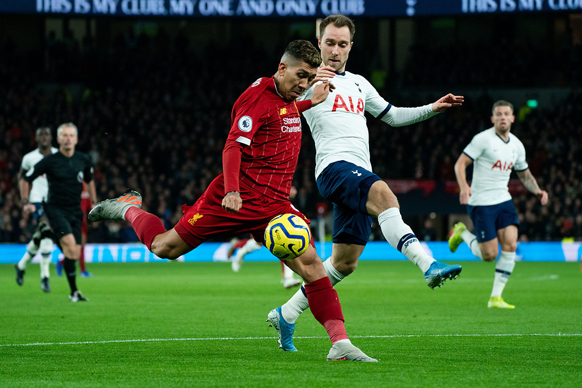 Liverpool's Roberto Firmino has a shot on goal<br /> <br /> Photographer Stephanie Meek/CameraSport<br /> <br /> The Premier League - Tottenham Hotspur v Liverpool - Saturday 11th January 2020 - Tottenham Hotspur Stadium - London<br /> <br /> World Copyright © 2020 CameraSport. All rights reserved. 43 Linden Ave. Countesthorpe. Leicester. England. LE8 5PG - Tel: +44 (0) 116 277 4147 - admin@camerasport.com - www.camerasport.com