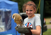 Pictured: Charlotte Hunt, 12 with an owl Saturday 13 August 2016<br />Re: Grow Wild event at  Furnace to Flowers site in Ebbw Vale, Wales, UK