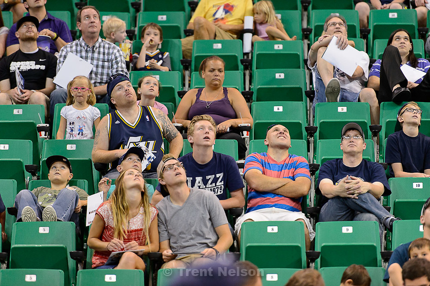 Trent Nelson  |  The Salt Lake Tribune<br /> Jazz fans react as the Utah Jazz select Kentucky forward Trey Lyles with the 12th pick in the 2015 NBA Draft. Jazz fans were invited to EnergySolutions Arena in Salt Lake City, Thursday June 25, 2015 to watch a broadcast of the draft.