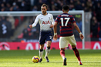 Christian Eriksen of Tottenham Hotspur and Ayoze Perez of Newcastle United during Tottenham Hotspur vs Newcastle United, Premier League Football at Wembley Stadium on 2nd February 2019