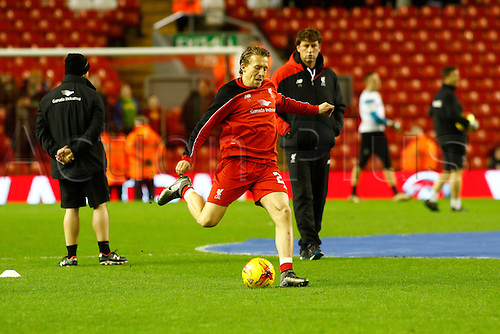 26.01.2016. Anfield, Liverpool, England. Capital One Cup Semi Final 2nd Leg. Liverpool versus Stoke. Liverpool midfielder Lucas Leiva warms up before the game.