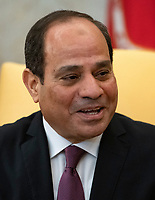 President Abdel-Fattah el-Sisi of the Arab Republic of Egypt  makes remarks as he meets United States President Donald J. Trump in the Oval Office of the White House in Washington, DC on April 9, 2019.<br /> CAP/MPI/RS<br /> &copy;RS/MPI/Capital Pictures