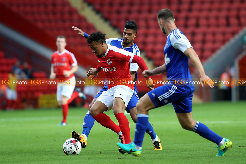 Nicky Ajose of Charlton Athletic takes on the Ipswich defence during Charlton Athletic vs Ipswich Town, Friendly Match Football at The Valley on 26th July 2016