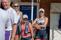 """Henley on Thames, United Kingdom, 3rd July 2018, Saturday,  """"Henley Royal Regatta"""",  Leander Club Olympians, Rowers after Leander 200 year row past, Left Hugh MATTHESON, centre left Victoria (Vicky) THORNLEY, right of centre Zoe DETOLEDO, right Katie GREVES, View, Henley Reach, River Thames, Thames Valley, England, UK"""