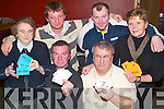 Aid: Pulling out all the cards at the Ardfert Branch of the Hospice Poker Classic night in McElligotts Bar, Ardfert, on Friday evening were, front l-r Jimmy Flannery, Dingle, and Brian Crowe, Ballyheigue. Back l-r Eileen Flaherty and John Houlihan, Abbeydorney, David Dillane, Listowel, and Mandy Lyons, Glin..