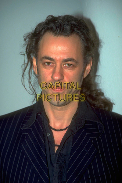 BOB GELDOF .Ref: 4498.Pre 2001.headshot portrait blue goatee strip pinstripe facial hair .CAP/JM.©James McCauley/Capital Pictures.
