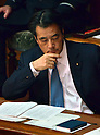 January 24, 2012, Tokyo, Japan - Japans Deputy Prime Minister Katsuya Okada listens to Prime Minister Yoshihiko Noda as he delivers his policy speech as the ordinary session of the Diet convenes in Tokyo on Tuesday, January 24, 2012. (Photo by Natsuki Sakai/AFLO) AYF -mis-