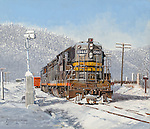 "A Southern Pacific Railroad high nose diesel working switching duty in winter snow. Oil on canvas, 12"" x 14""."