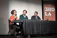 "From left: columnist for the Los Angeles Times Carolina A. Miranda; artist, designer, writer, and educator Rosten Woo and multi-disciplinary artist Ruben Ochoa.<br /> Occidental College's 3rd LA (Re)Designing LA series kicks off for this year at the Barnsdall Gallery Theater, next door to Frank Lloyd Wright's 1921 Hollyhock House, on March 6, 2019. Hosted by Oxy Professor of Practice and Chief Design Officer for the City of Los Angeles Christopher Hawthorne, guest speakers and panelists discussed ""Is There an L.A. Sensibility? Place and Politics in Los Angeles Design.""<br /> 3rd LA is co-sponsored by Occidental, the Mayor's Office and the Los Angeles Department of Cultural Affairs.<br /> (Photo by Marc Campos, Occidental College Photographer)"
