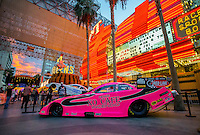 Oct 29, 2015; Las Vegas, NV, USA; The car of NHRA funny car driver Alexis DeJoria on display at the Fremont Street casino prior to qualifying for the Toyota Nationals at The Strip at Las Vegas Motor Speedway. Mandatory Credit: Mark J. Rebilas-USA TODAY Sports