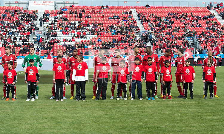 06 April 2013: The Toronto FC team during the opening ceremonies in an MLS game between FC Dallas and Toronto FC at BMO Field in Toronto, Ontario Canada..The game ended in a 2-2 draw..